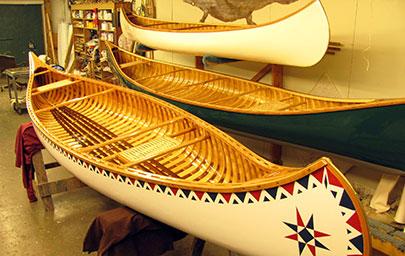 Island Falls Canoe - Custom Made Wood and Canvas Canoes